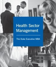 Health Sector Management - Duke University's Fuqua School of ...