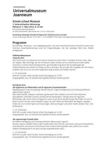 Programm Schultag 2012 - Universalmuseum Joanneum