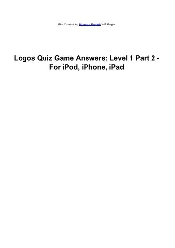 Logos Quiz Game Answers: Level 1 Part 2 - For ... - iTouchApps.net