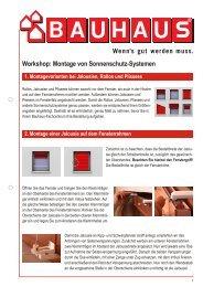 Workshop: Montage von Sonnenschutz-Systemen