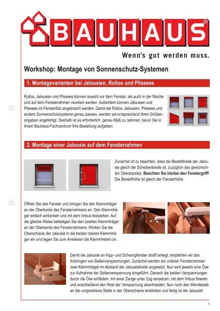 Bauhaus Jalousien.Workshop Montage Von Sonnenschutz Systemen