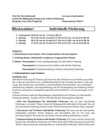 Blockseminar: Individuelle Förderung - Dr. Petra Buchwald