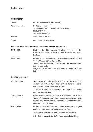 Lebenslauf - Hochschule Fulda