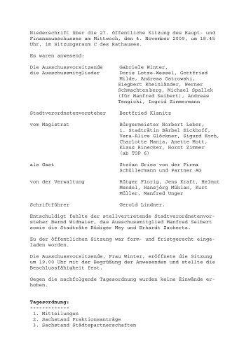 Niederschrift über die 27 - Stadt Griesheim