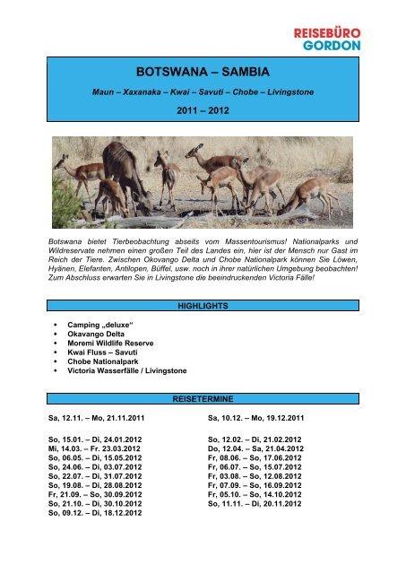 Detailprogramm Botswana - Reisewelt