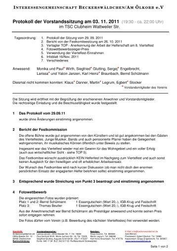 Protokoll der Vorstandssitzung am 03. 11. 2011 - IG ...