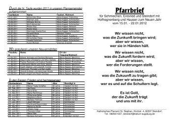 Pfarrbrief zum Neuen Jahr 2012 - VG Mering