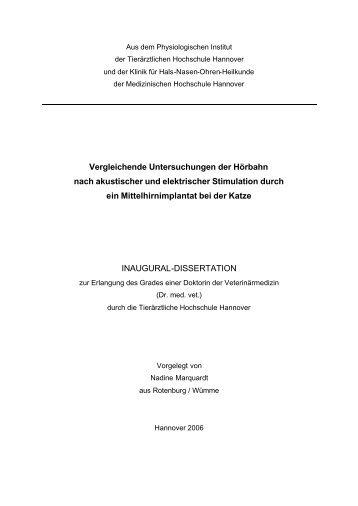 Vergleichende Untersuchungen der Hörbahn nach akustischer und ...