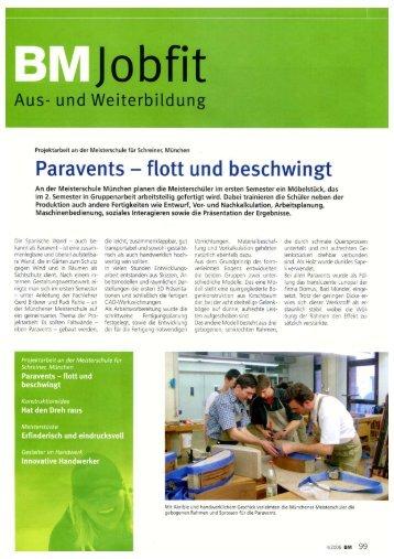 Paravents - flott und beschwingt - Meisterschule Schreiner München