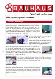 Workshop: Montage einer Duschwanne