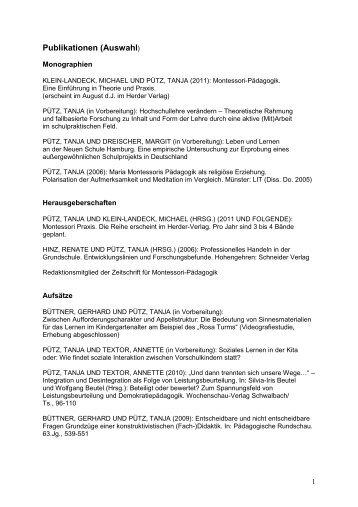 Publikationen von Prof. Dr. Tanja Pütz - Sinn-Stiftung