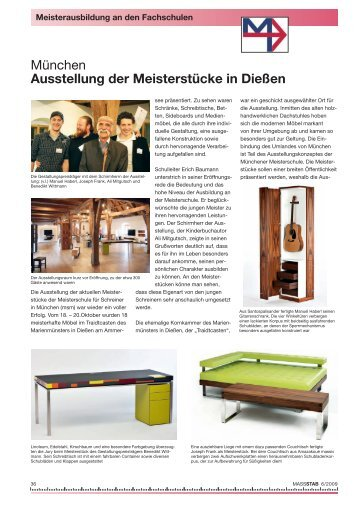 Ausstellung der Meisterstücke in Dießen - Meisterschule Schreiner ...