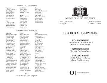UO CHORAL ENSEMBLES - School of Music - University of Oregon