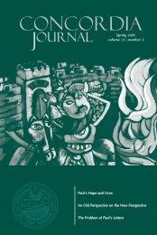 Concordia Journal | Spring 2009 - Concordia Seminary