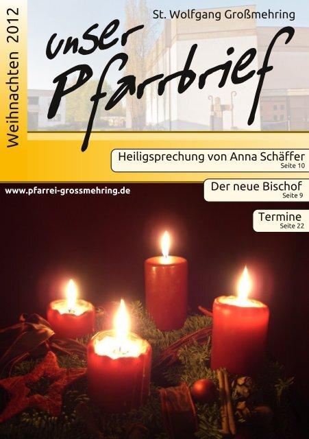 Pfarrbrief Weihnachten 2012