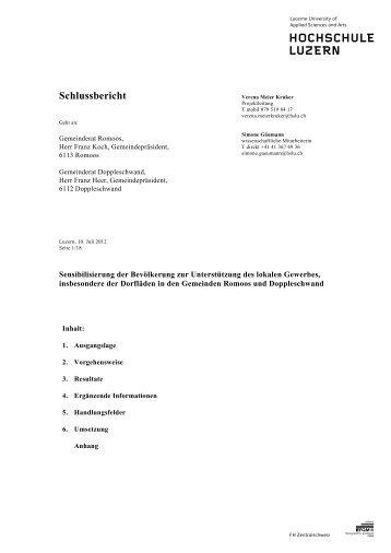 Zwischenbericht Gewerbe und Dienstleistungen in Romoos und ...
