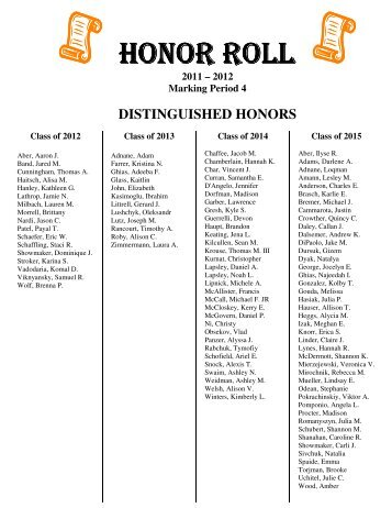Honor Roll - Fourth Marking Period