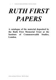A catalogue of the material deposited by the Ruth First Memorial ...