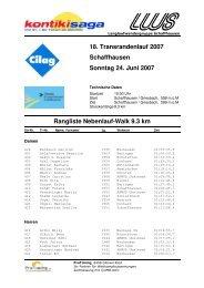 18. Transrandenlauf 2007 Schaffhausen Sonntag 24. Juni 2007 ...