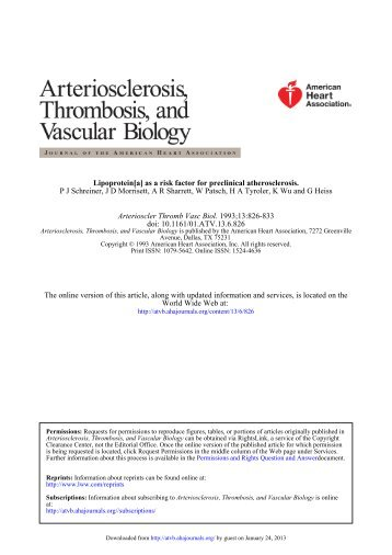 Lipoprotein [a] as a Risk Factor for Preclinical Atherosclerosis