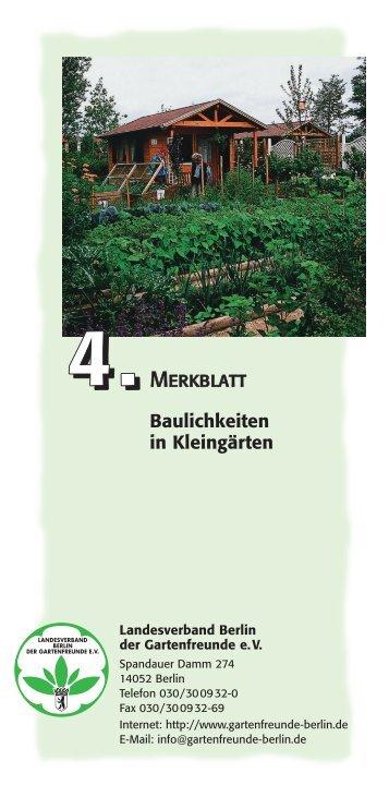 Faltblatt 4 - Baulichkeiten in Kleingärten - Landesverband Berlin der ...