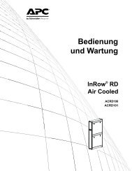 Bedienung und Wartung InRow® RD Air Cooled