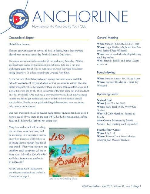 ANCHORLINE - West Seattle Yacht Club