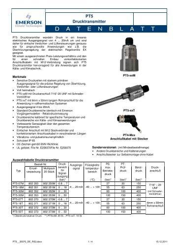 Drucktransmitter - Emerson Climate Technologies