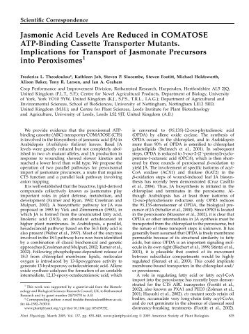 Jasmonic Acid Levels Are Reduced in ... - Plant Physiology