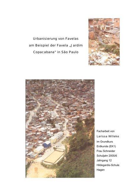Urbanisierung Von Favelas Am Beispiel Der Favela Hildegardis