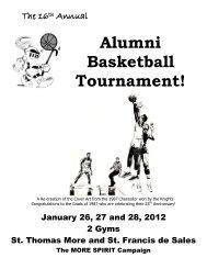 2012 Alumni Bball Program - St. Thomas More Collegiate