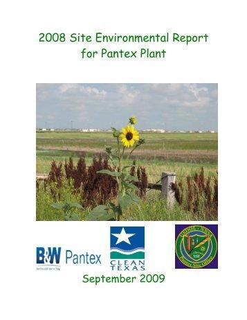 2008 Site Environmental Report for Pantex Plant