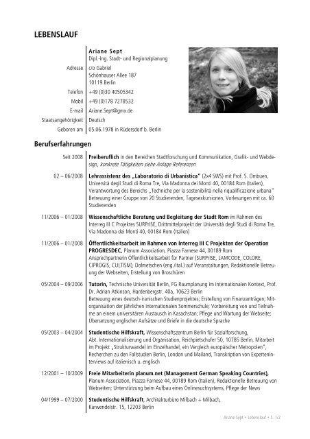 Lebenslauf Und Referenzen Pdf Ariane Sept
