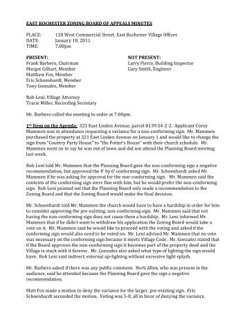 EAST ROCHESTER ZONING BOARD OF APPEALS MINUTES ...