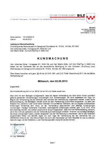 Bauverhandlung Zoller Johannes und Martin - Gemeinde Silz