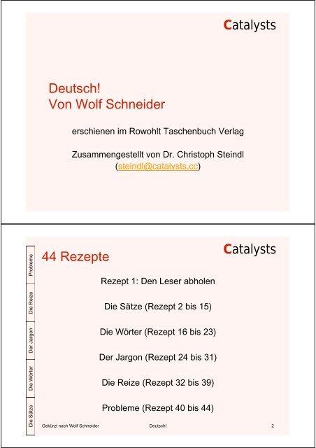 Zusammenfassung Von Wolf Schneiders Buch Deutsch Catalysts