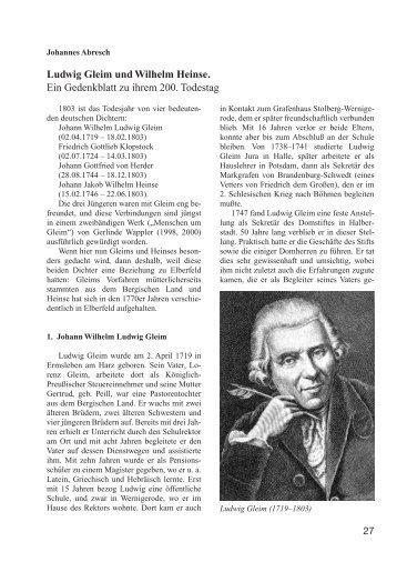 Ludwig Gleim und Wilhelm Heinse. Ein - Bergischer ...