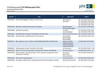 Fortbildungsangebot PHT-Bildungsregion West Sommersemester ...