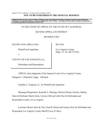 Arellano v. County of Los Angeles Opinion - Greines, Martin, Stein ...
