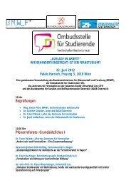 AUSLAGE IN ARBEIT Programm (2) - Zentrum für Fernstudien