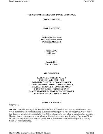 June 11, 2002 - Baltimore City Public Schools