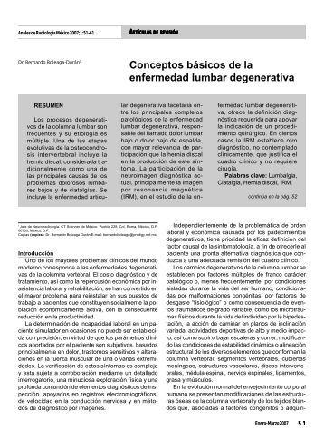 Conceptos básicos de la enfermedad lumbar ... - edigraphic.com