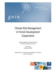 Climate Risk Management in Finnish Development Cooperation - Gaia