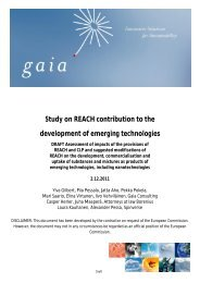 Study on REACH contribution to the development of ... - Gaia