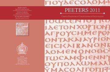 CSCO, Scriptores Arabici - Peeters