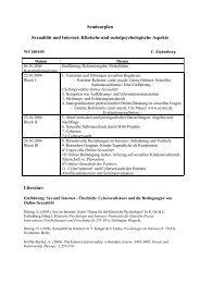 Seminarplan Sexualität und Internet - Christiane Eichenberg