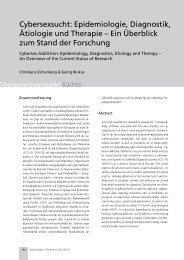 Cybersexsucht: Epidemiologie, Diagnostik, Ätiologie und Therapie ...