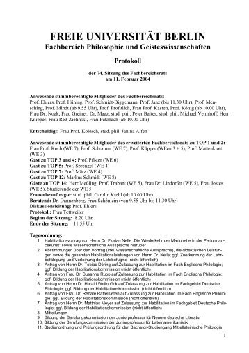 74. FBR-Sitzung Protokoll - Fachbereich Philosophie und ...