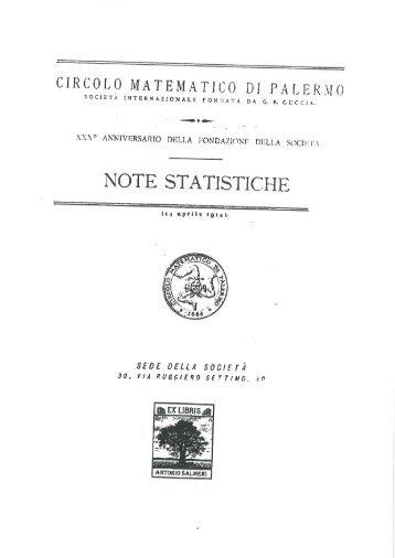 NOTE STATISTICHE - Euclide. Giornale di matematica per i giovani