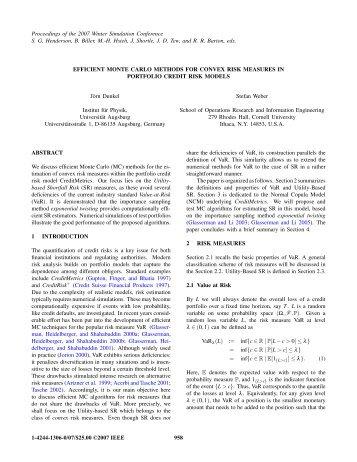 efficient monte carlo methods for convex risk measures in portfolio ...